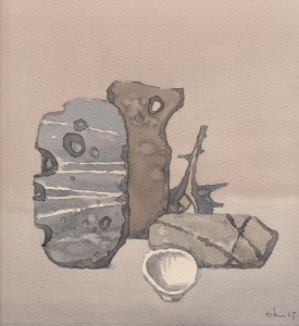 Камни и раковины 2017 22х22 б,акв