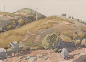 Скиатос. деревья на склоне холма 2014 16х23 б,акв