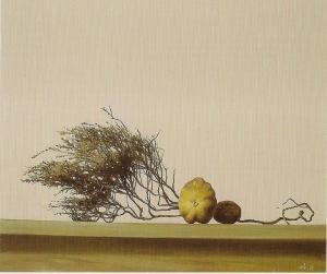 Веточка вереска и два плода 2005 50х60 х,м