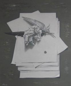 Неотправленное письмо 2013 60х50 картон, акрил